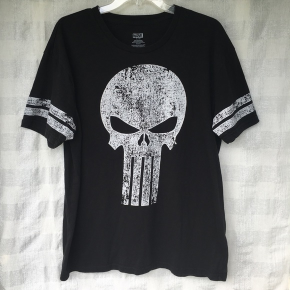 7e6cb19f6 Marvel Shirts | Punisher Skull Distressed Black Xl Tshirt | Poshmark